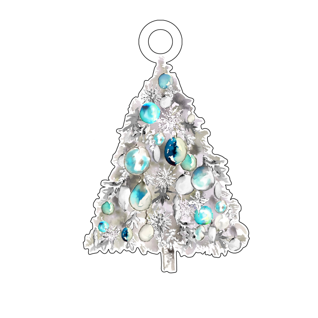 AQUA BAUBLES CHRISTMAS TREE ACRYLIC GIFT TAG