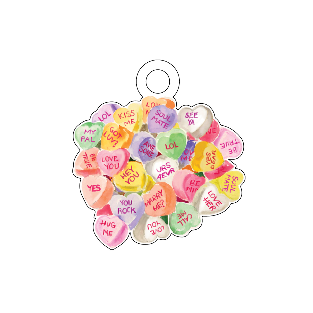 CONVERSATION HEART CANDY ACRYLIC GIFT TAG*