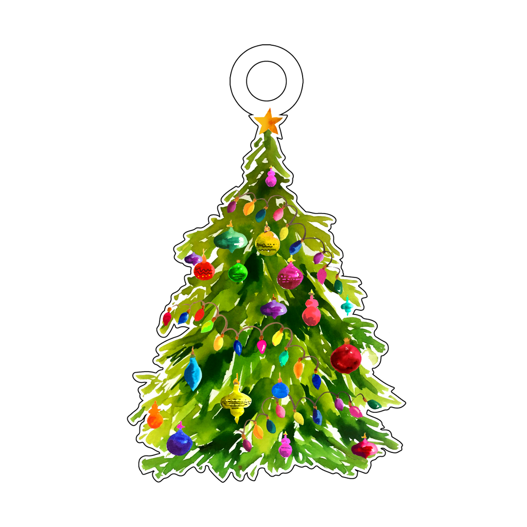 CHRISTMAS TREE ACRYLIC GIFT TAG