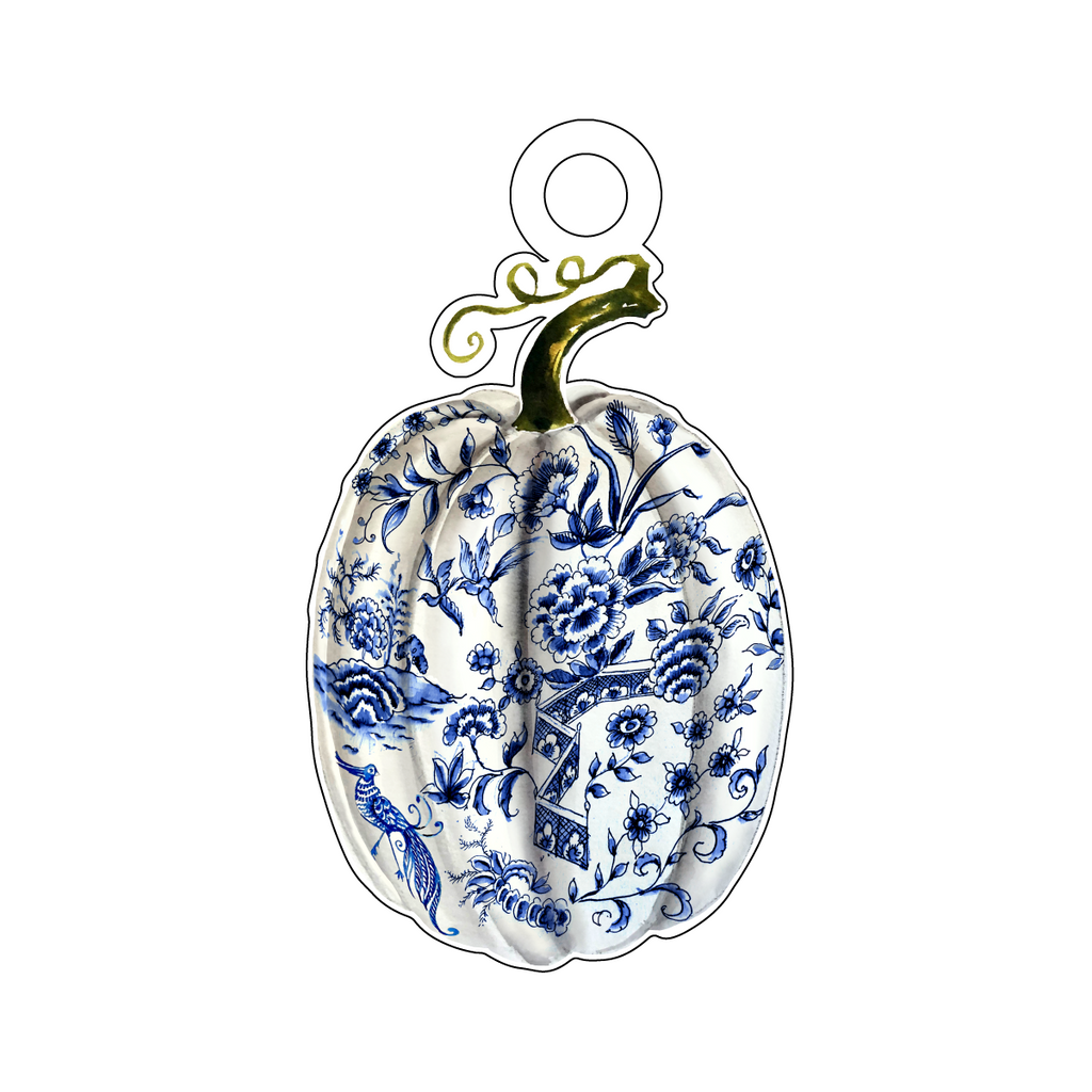 BLUE & WHITE WILLOW GOURD ACRYLIC GIFT TAG