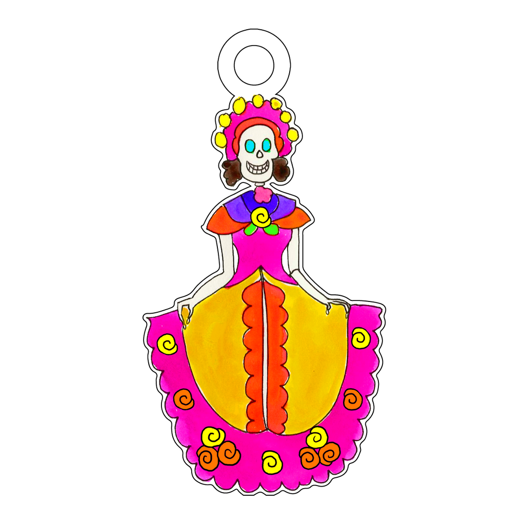 DAY OF THE DEAD SENORITA ACRYLIC GIFT TAG