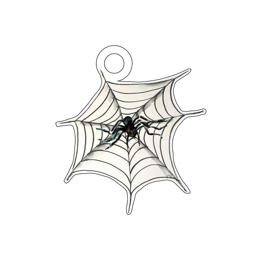 SPIDER IN SPIDER WEB ACRYLIC GIFT TAG