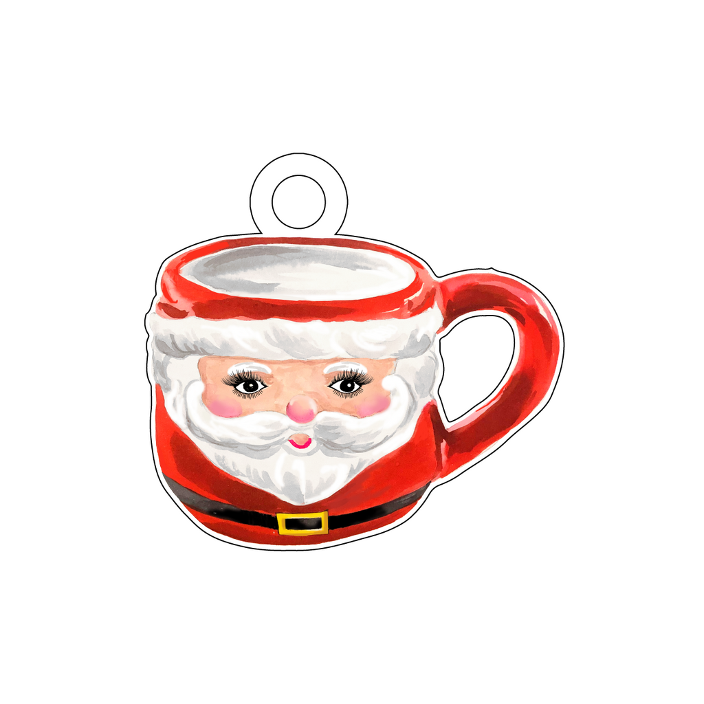 CUTE AS A BUTTON SANTA MUG ACRYLIC GIFT TAG