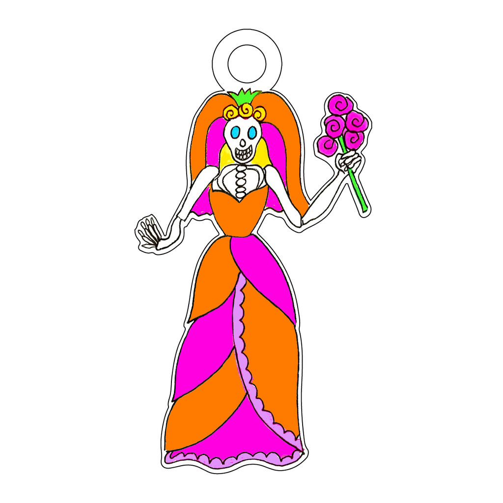 DAY OF THE DEAD VIBRANT BRIDE ACRYLIC GIFT TAG