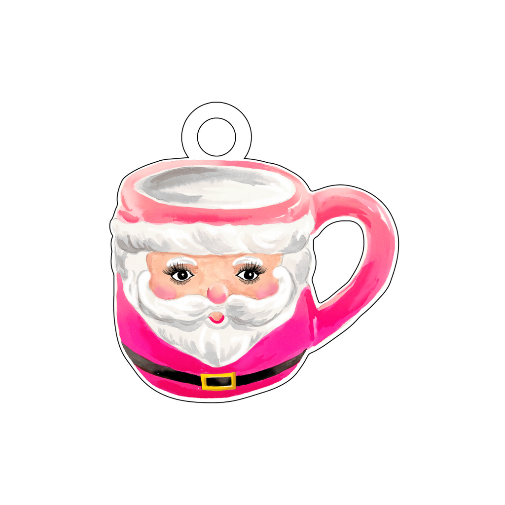 CUTE AS A BUTTON SANTA MUG PINK ACRYLIC GIFT TAG