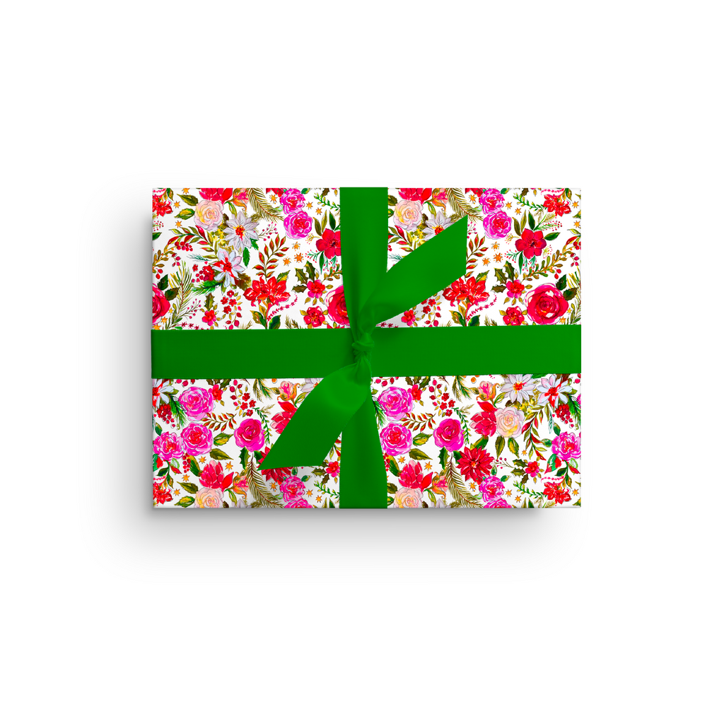 CHRISTMAS FLOWERS LUXE GIFT WRAP ROLL*