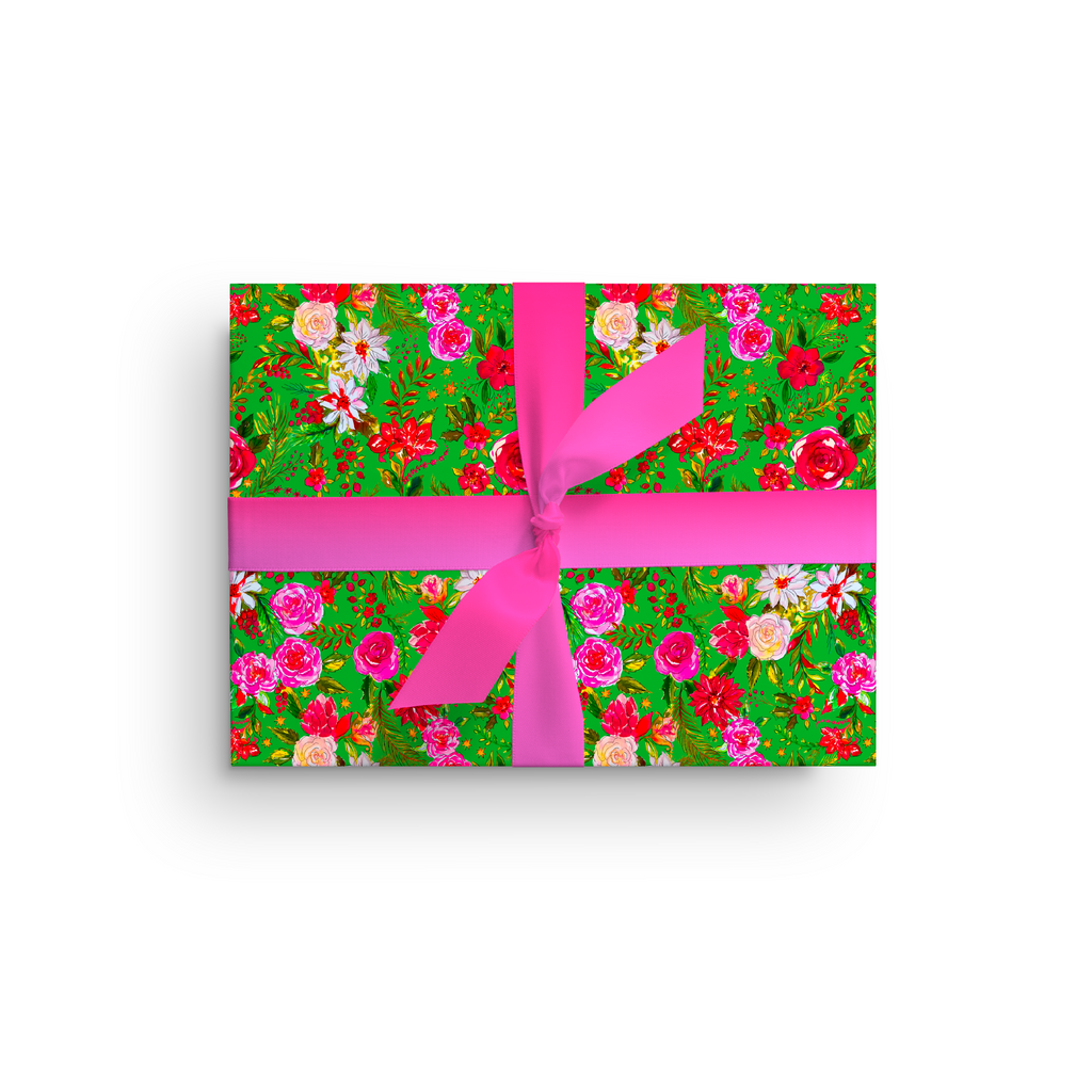 CHRISTMAS FLOWERS LIME LUXE GIFT WRAP ROLL*