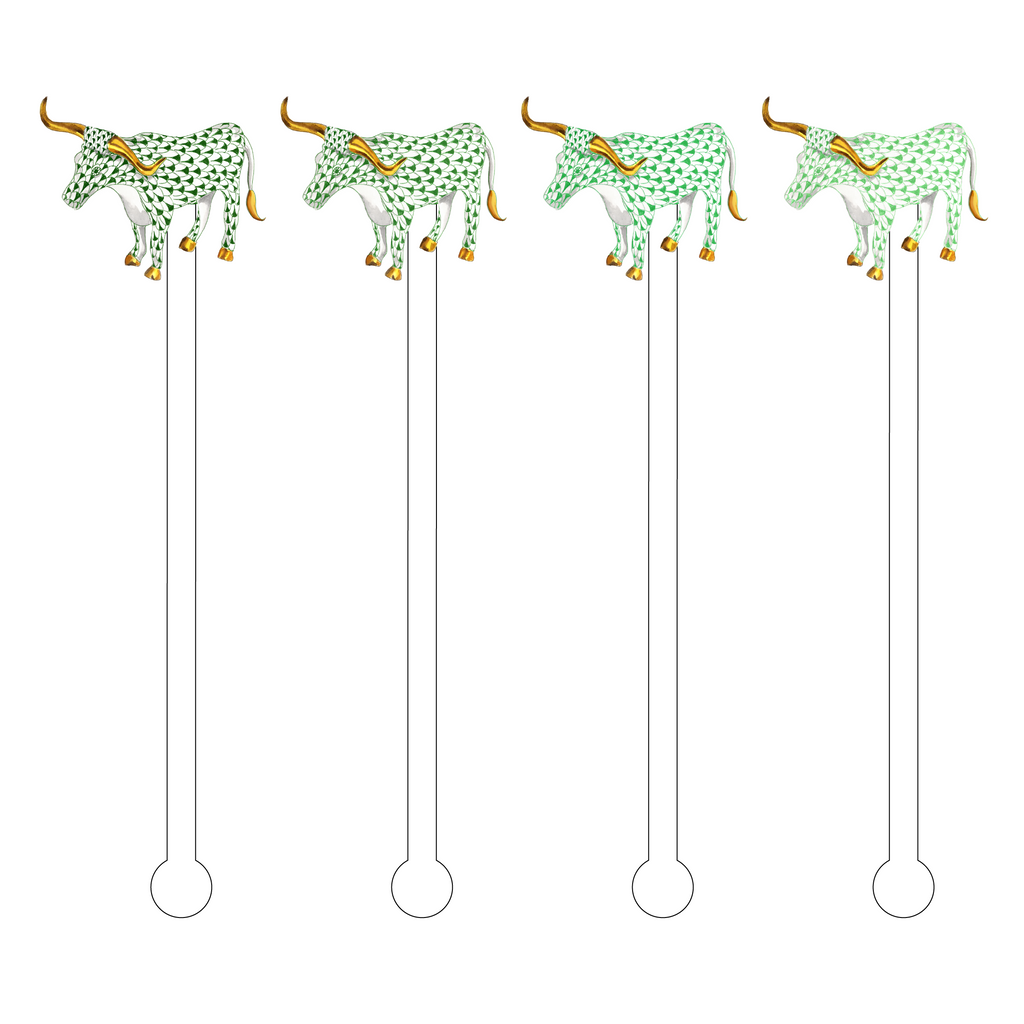 GREEN-Y OMBRE HEREND LONGHORN ACRYLIC STIR STICKS COMBO
