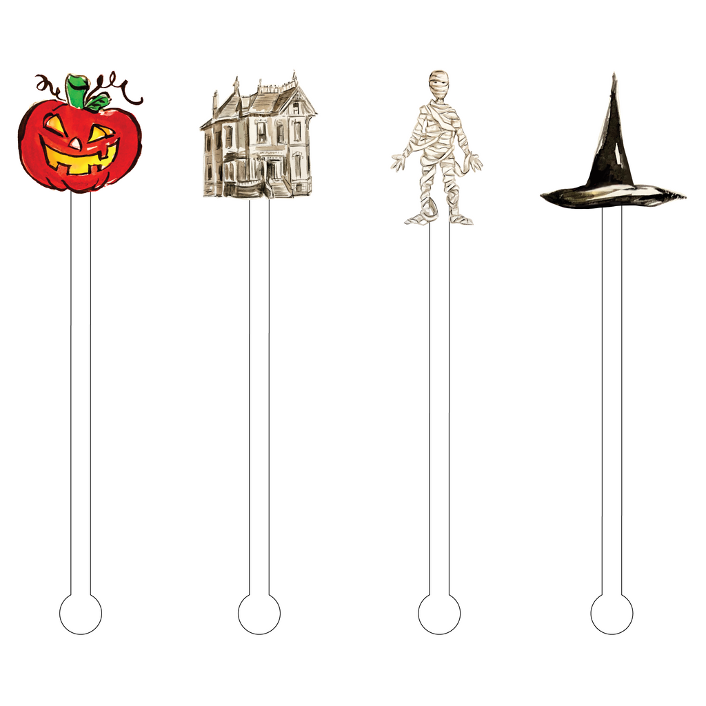 HAUNTED HALLOWEEN ACRYLIC STIR STICKS COMBO