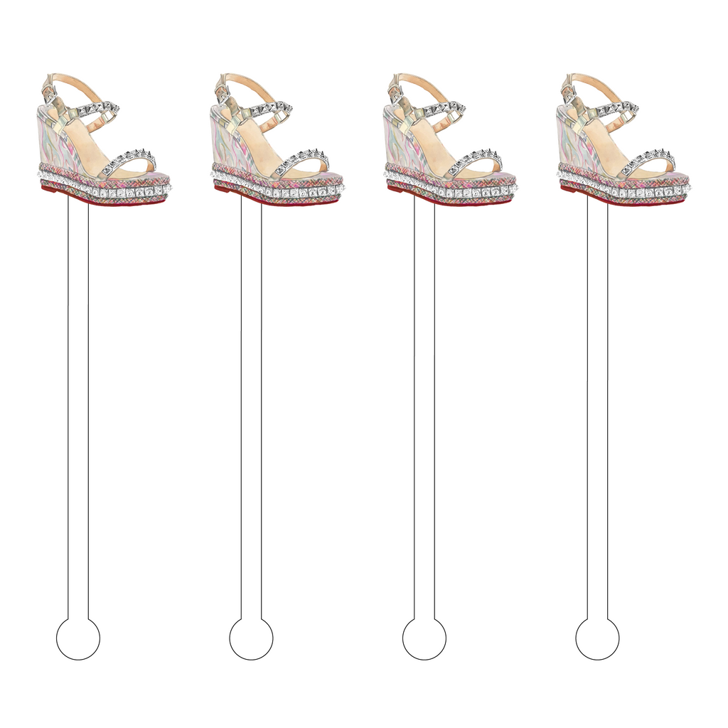 DESIGNER WEDGE SANDAL ACRYLIC STIR STICKS*