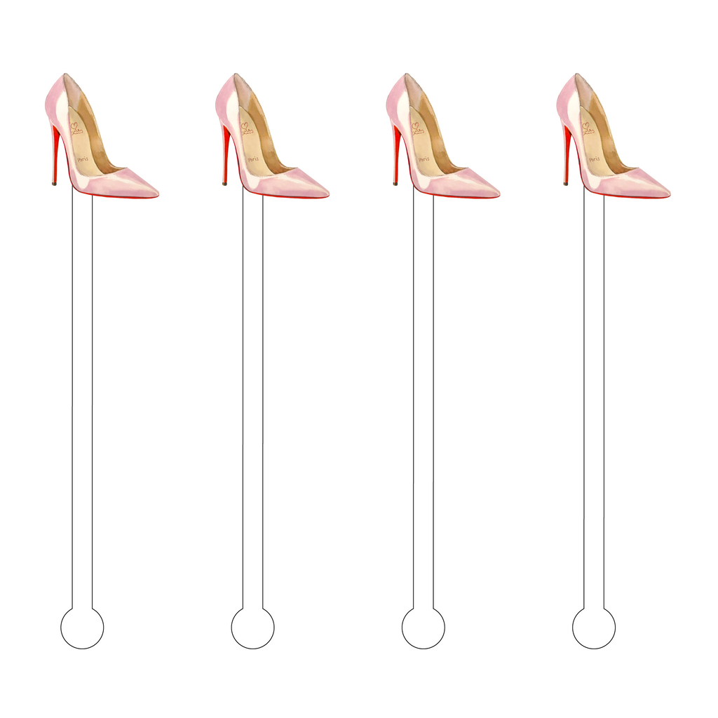 DESIGNER BLUSH PINK PUMP ACRYLIC STIR STICKS*