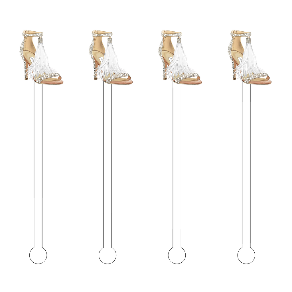 DESIGNER CRYSTAL FEATHER TASSEL STRAPPY HEEL ACRYLIC STIR STICKS*