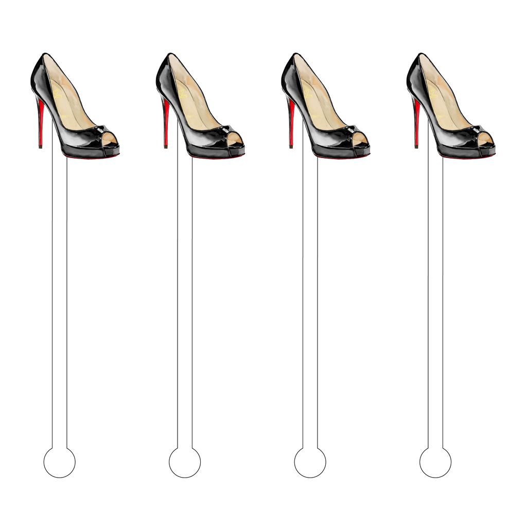 BLACK PEEP-TOE DESIGNER PUMP ACRYLIC STIR STICKS*