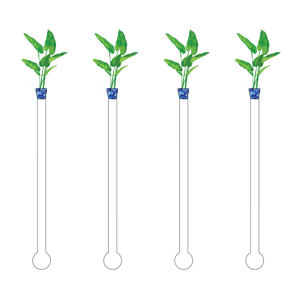 TROPICAL PLANT ACRYLIC STIR STICKS