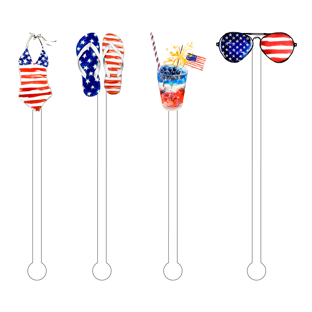 PATRIOTIC BABE ACRYLIC STIR STICKS COMBO