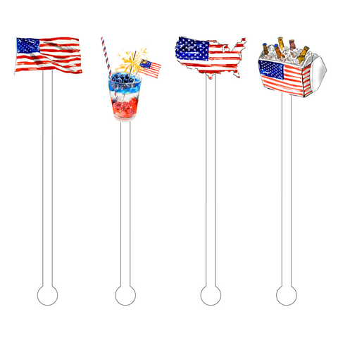 PATRIOTIC POOL DAYS ACRYLIC STIR STICKS COMBO
