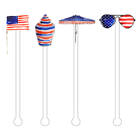 AMERICAN FLAG EAGLE FLOATY ACRYLIC STIR STICKS