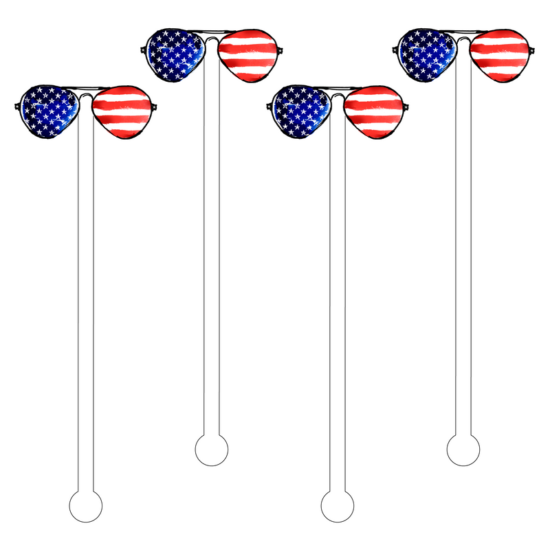 I WEAR MY 'USA' SUNGLASSES AT NIGHT ACRYLIC STIR STICKS