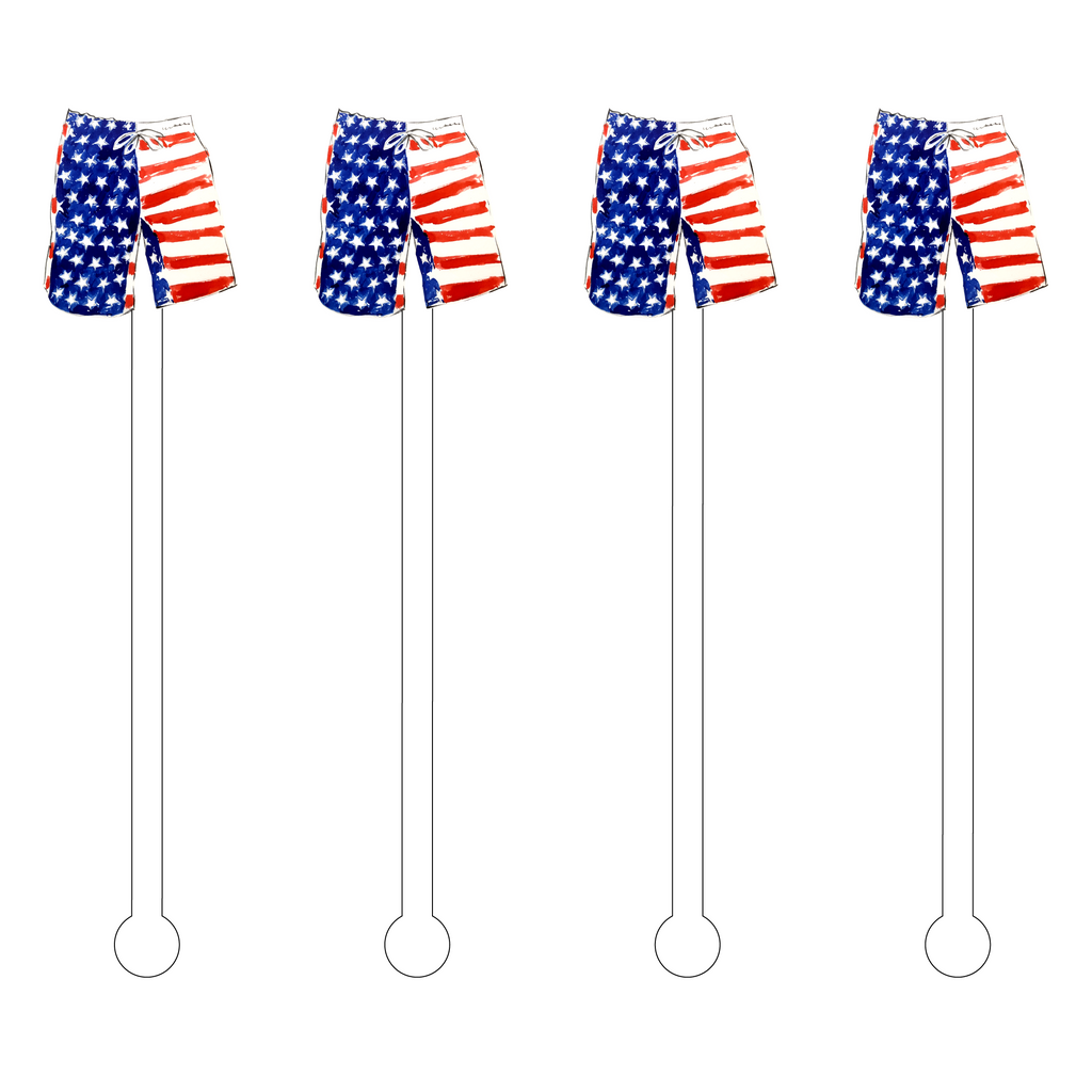 MR. PATRIOTIC SWIM TRUNKS ACRYLIC STIR STICKS