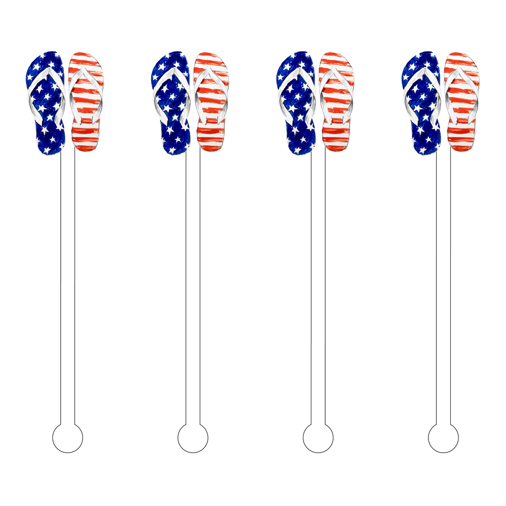 I LOVE THE USA FLIP FLOPS ACRYLIC STIR STICKS