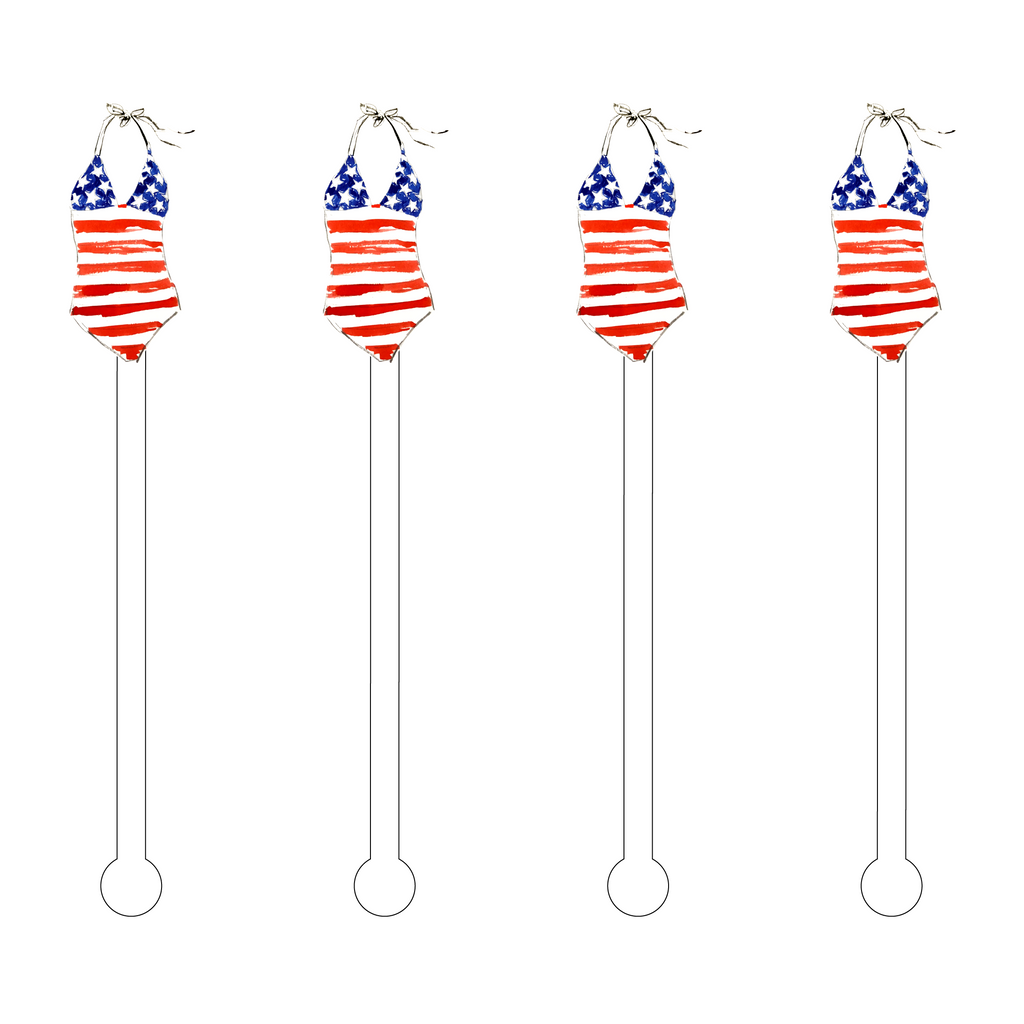 I LOVE AMERICA ONE-PIECE SWIMSUIT ACRYLIC STIR STICKS