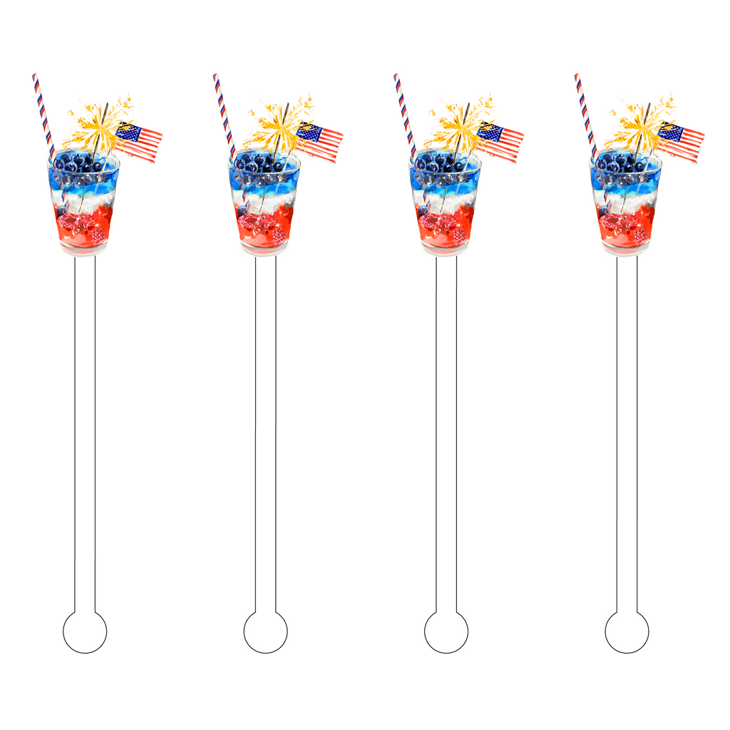 I SPARKLE FOR THE USA COCKTAIL ACRYLIC STIR STICKS