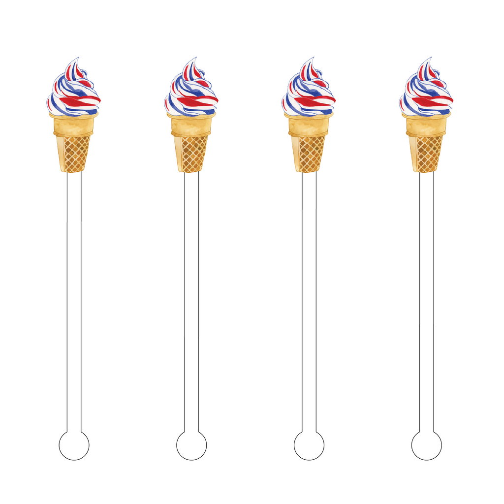 AMERICAN FLAG ICE CREAM CONE ACRYLIC STIR STICKS