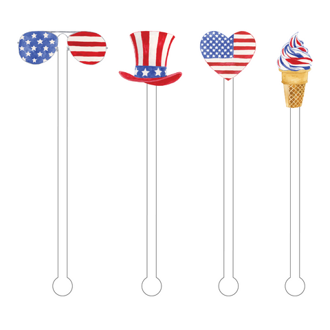 I LOVE THE AMERICAN FLAG ACRYLIC STIR STICKS