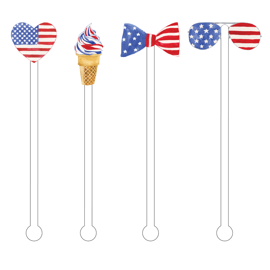 STARS & STRIPES ACRYLIC STIR STICKS COMBO