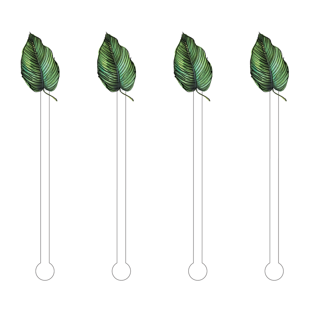 LUAU TROPICAL LEAF ACRYLIC STIR STICKS