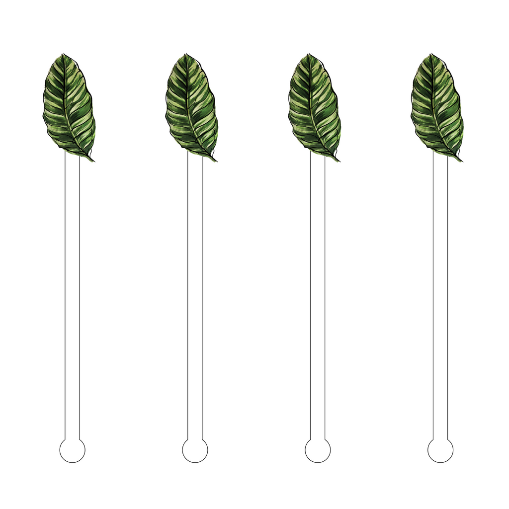 BIRD OF PARADISE LEAF ACRYLIC STIR STICKS