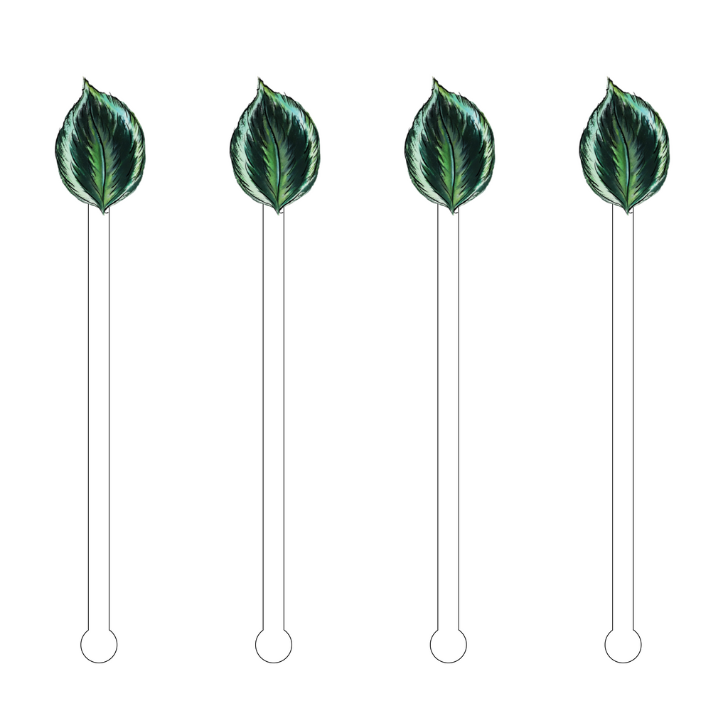 BETEL TROPICAL LEAF ACRYLIC STIR STICKS