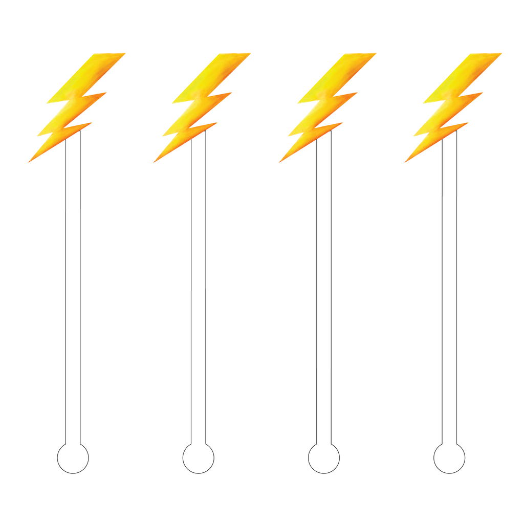 LIGHTENING BOLT ACRYLIC STIR STICKS