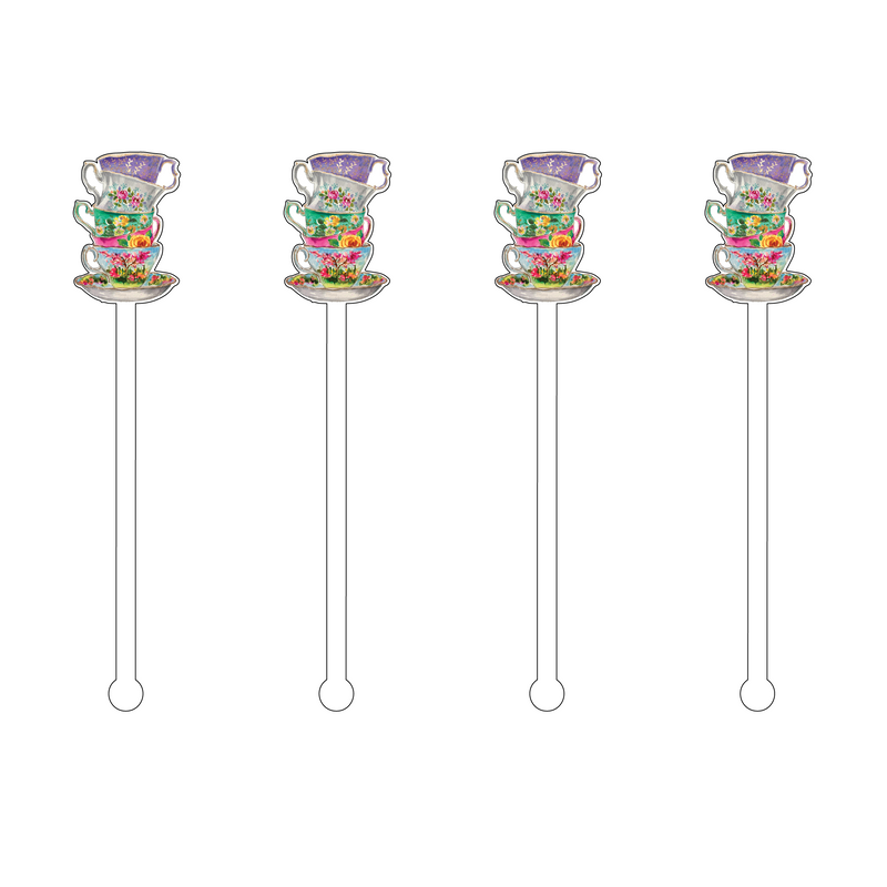 STACKED TEACUP MINIKINS ACRYLIC STIR STICKS