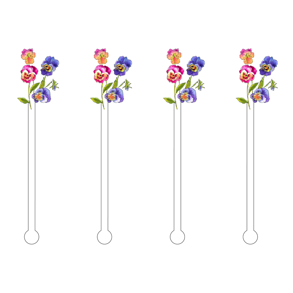 PLAYFUL PANSIES MINIKINS ACRYLIC STIR STICKS