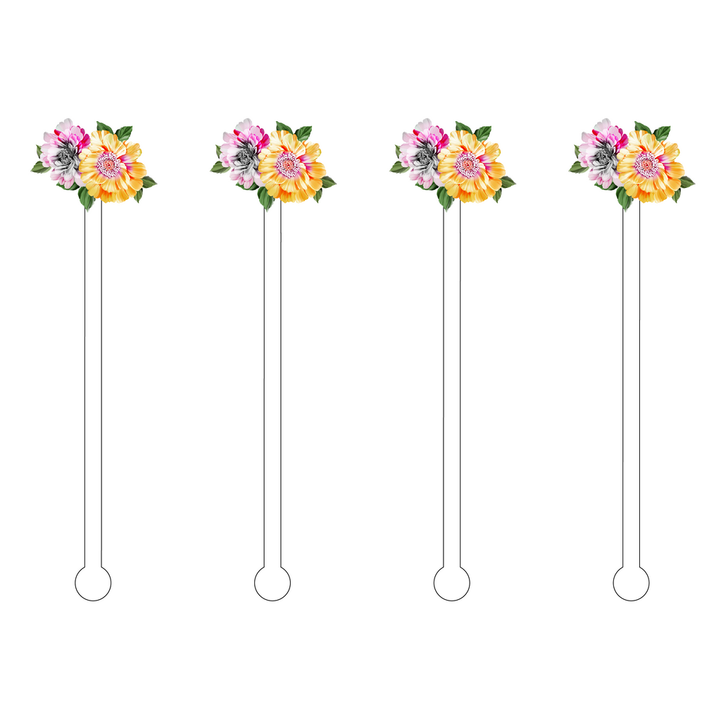 SUMMER BLOOMS MINIKINS ACRYLIC STIR STICKS