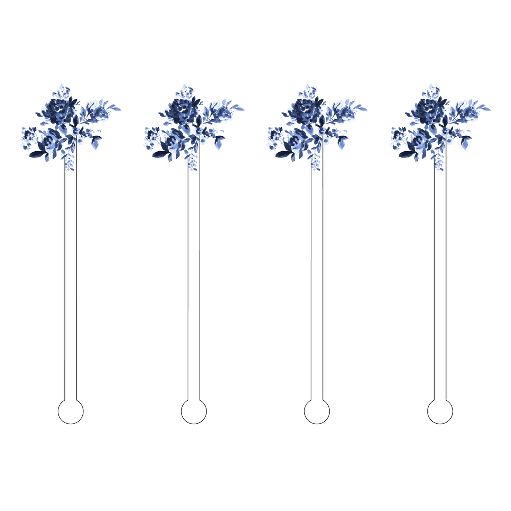 BLUE FLOWER BUNDLE MINIKINS ACRYLIC STIR STICKS