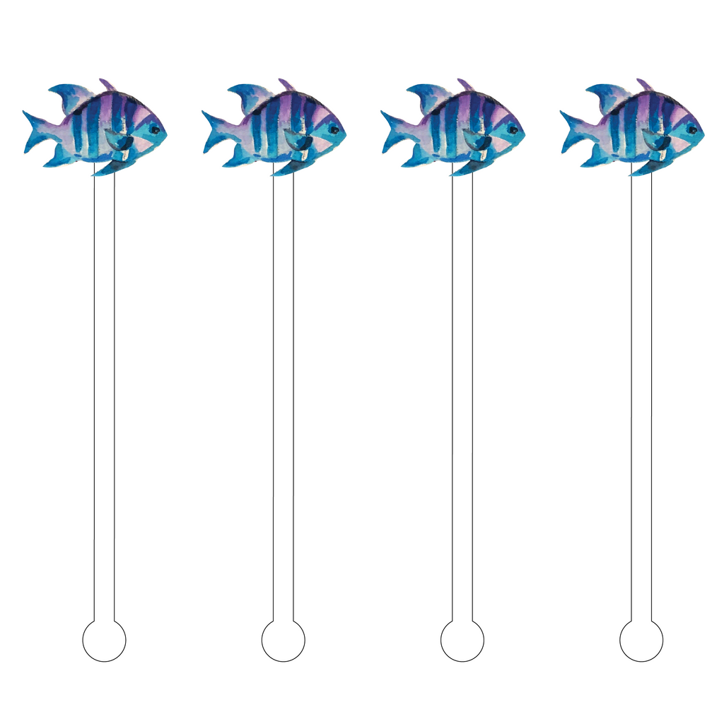 BLUE SURGEON OCEAN FISH ACRYLIC STIR STICKS