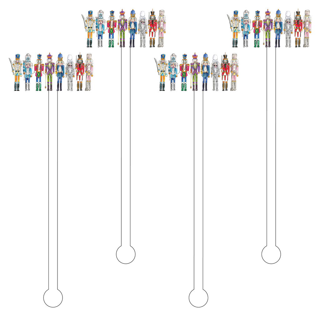 NUTCRACKER SQUAD ACRYLIC STIR STICKS