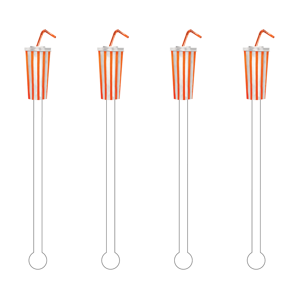 ORANGE STRIPE SOFT DRINK ACRYLIC STIR STICKS