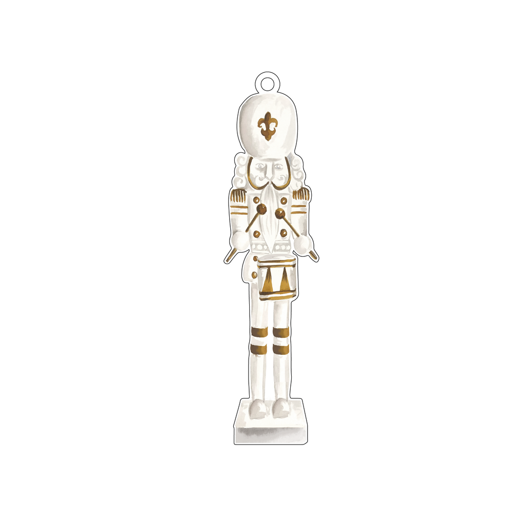GOLD & WHITE DRUMMER NUTCRACKER ACRYLIC ORNAMENT*