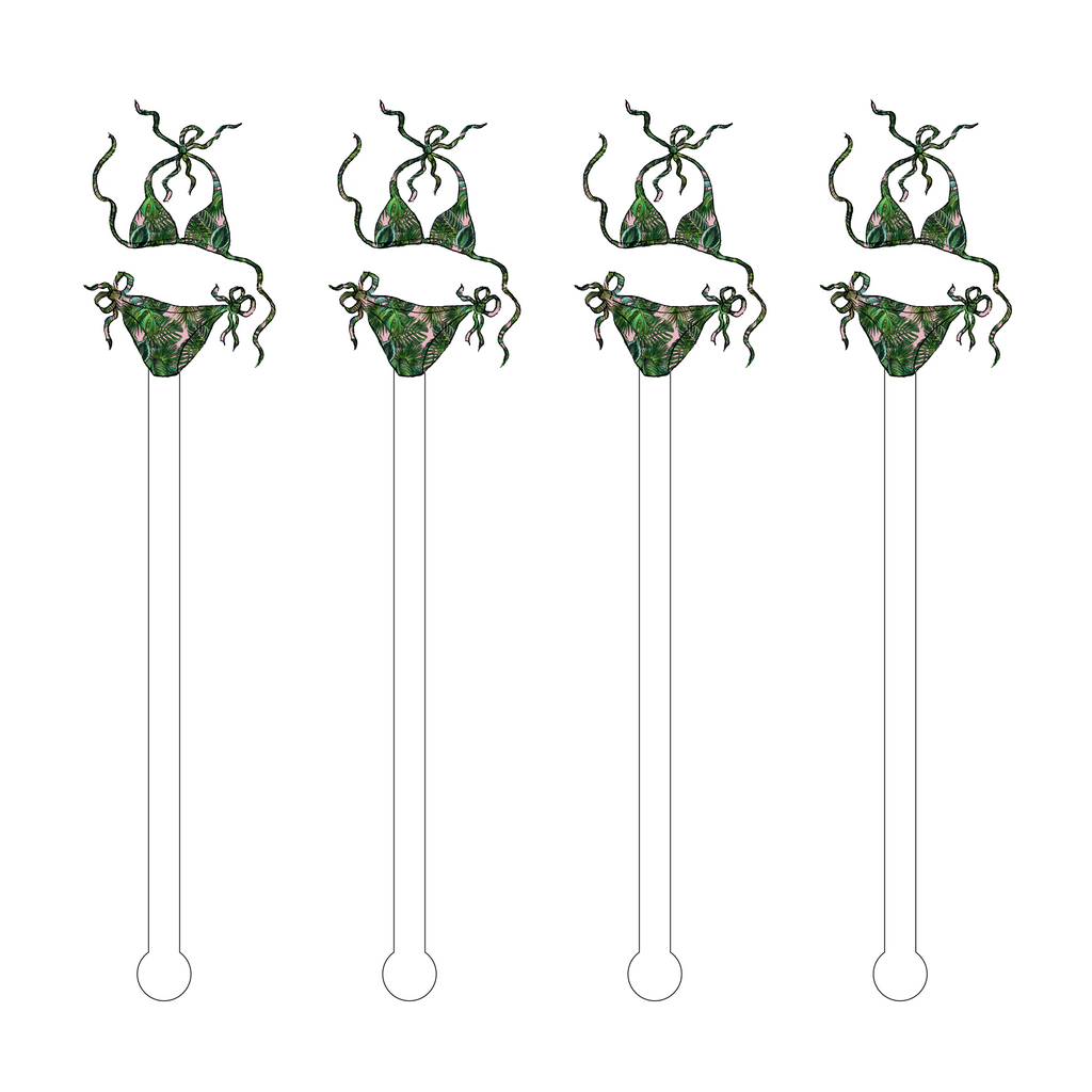 PALM LEAF BIKINI ACRYLIC STIR STICKS