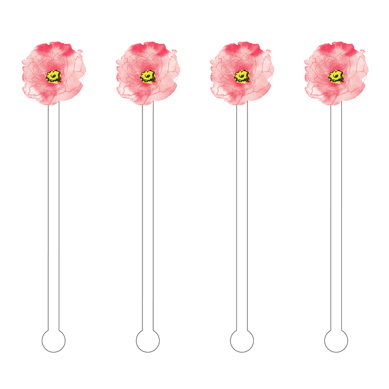 PEACH PRETTY BLOOM ACRYLIC STIR STICKS