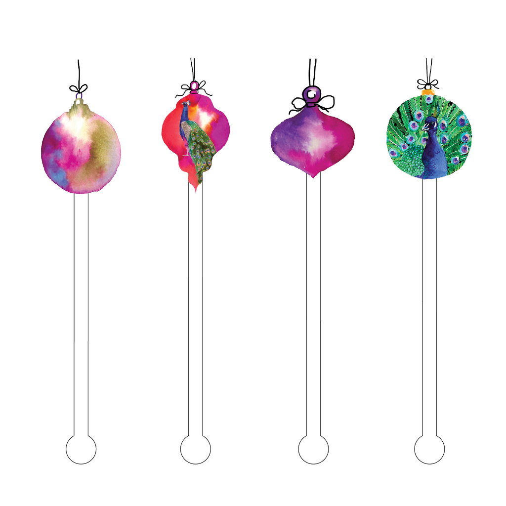 OMBRE PEACOCK ORNAMENTS ACRYLIC STIR STICKS COMBO