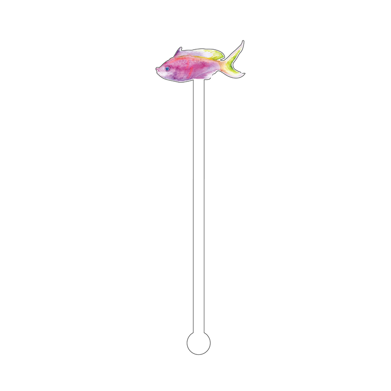 PINK FISH ACRYLIC STIR STICK