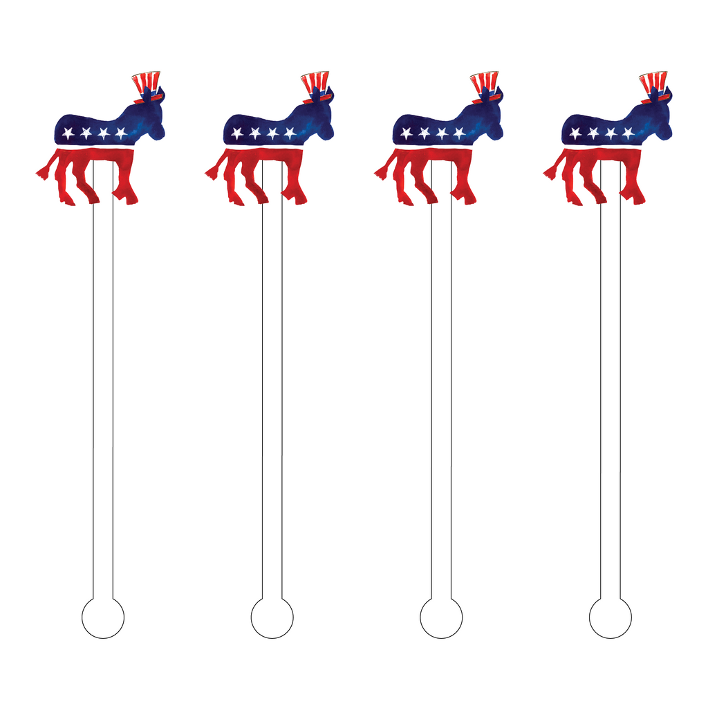 DEMOCRATIC PARTY LOGO ACRYLIC STIR STICKS