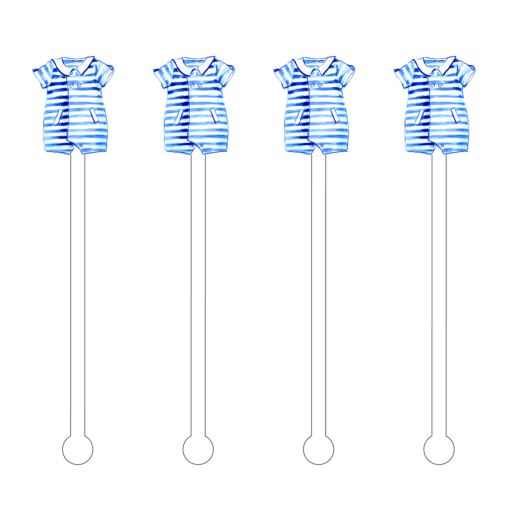 BLUE STRIPE ONESIE ACRYLIC STIR STICKS