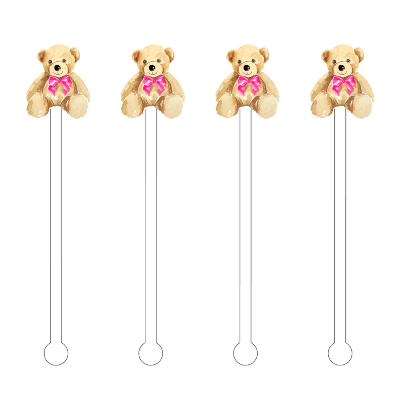 IT'S A GIRL TEDDY BEAR ACRYLIC STIR STICKS