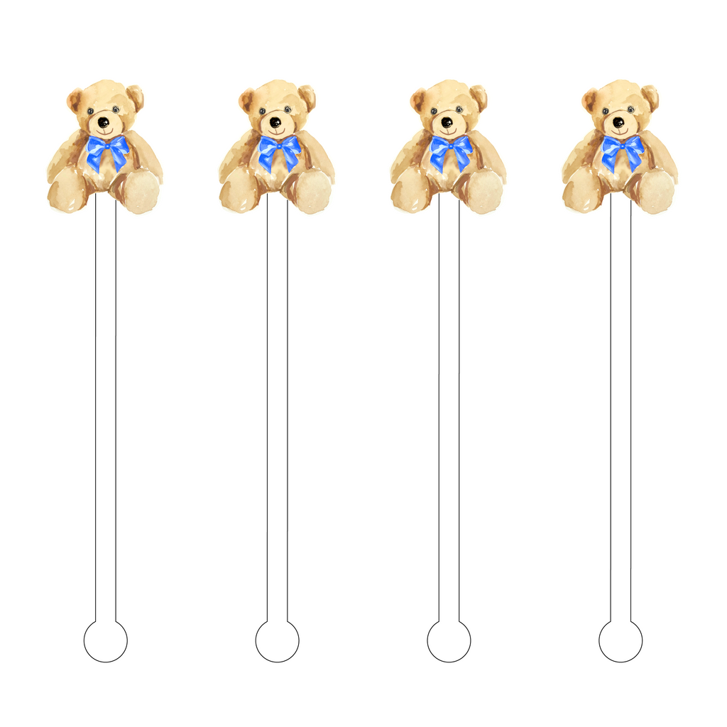 IT'S A BOY TEDDY BEAR ACRYLIC STIR STICKS