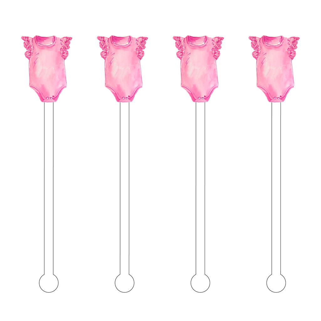 PINK ONESIE ACRYLIC STIR STICKS